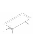 Mesa Chicago Talla M Long 1800x100x750 Mm Blanco/Haya